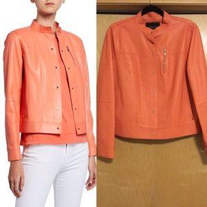 Lafayette Button-Front Lambskin Leather Jacket